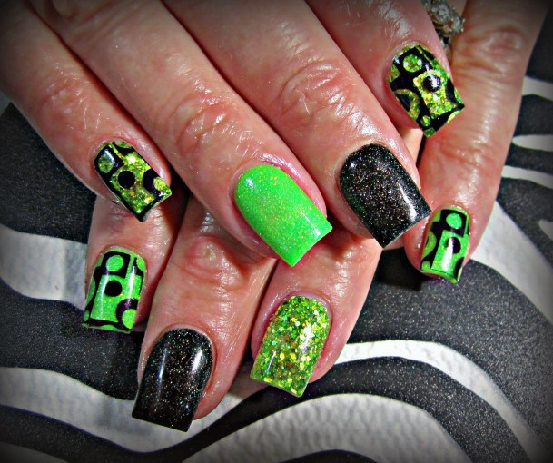 Striking Neon Green Nails With Glitters
