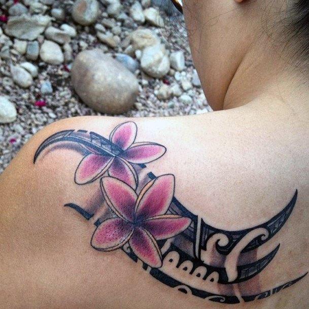 Striking Pink Flowers On Black Tribal Tattoo Womens Shoulder