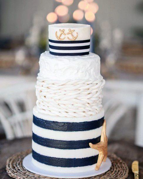 Striped Black And White Beach Wedding Cake Women