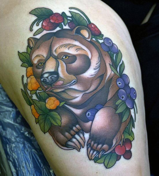 Strong Brown Bear And Florals Tattoo For Women
