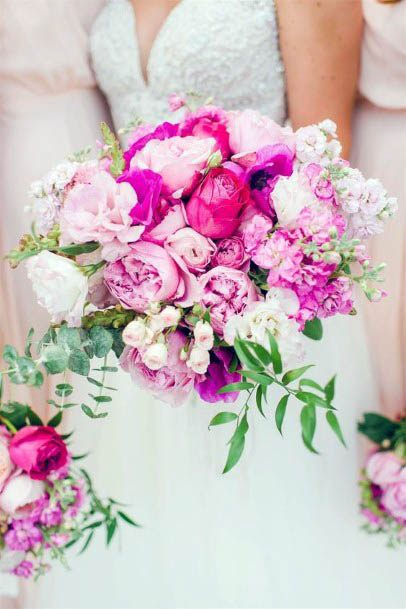 Strong Pink Toned Wedding Flowers