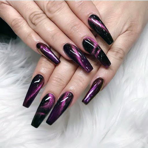 Strong Purple Hued Cat Eye Nails