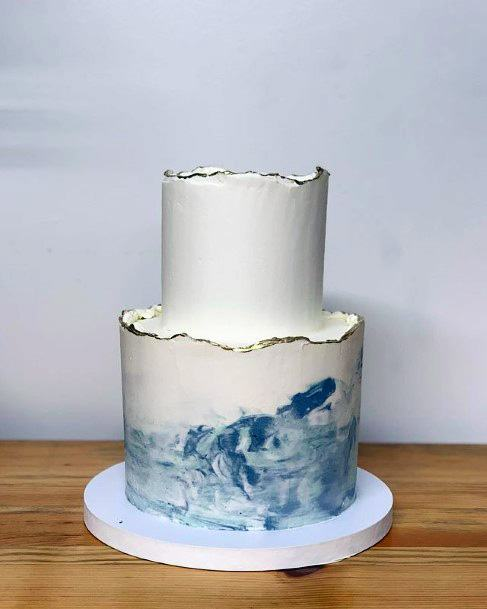 Strong Waves Beach Wedding Womens Cake