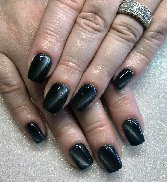 Stunning Black Cat Eye Nails