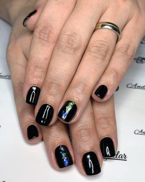 Stunning Black Short Nails Women
