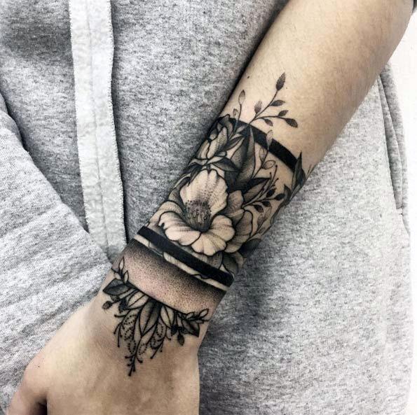 Stunning Black Tattoo Womens Wrist