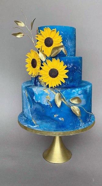 Stunning Blue Wedding Cakes Women With Sunflower