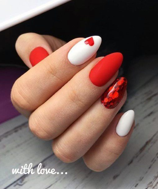 Stunning Bright Red Nails With White Polish For Women