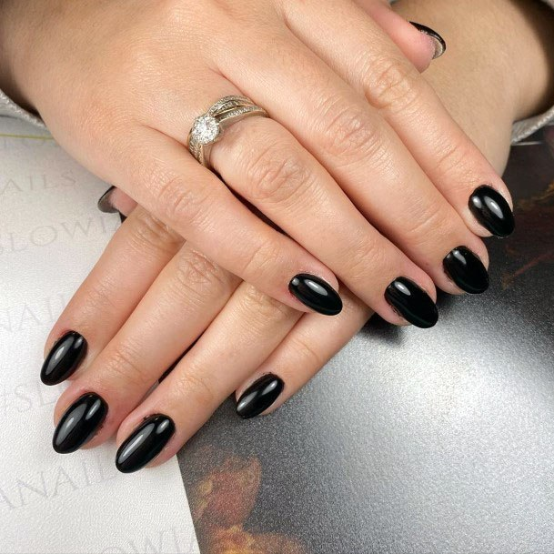 Stunning Dark Black Colored Nails