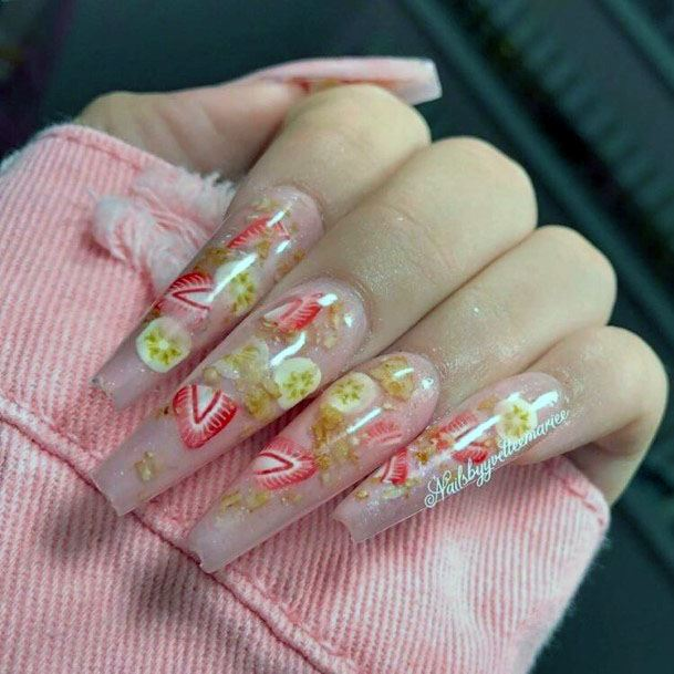 Stunning Delicious Strawberry And Banana Long Squared Nail Design For Women