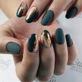 Stunning Gold And Green Matte Nails Women