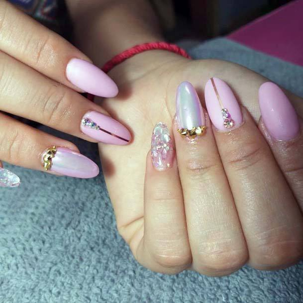 Stunning Light Pink And Crystal Design Nails
