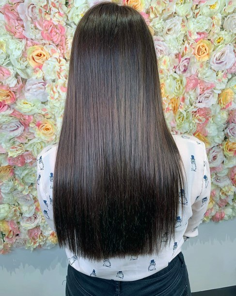 Stunning Perfect Straight Womens Glossy Dark Brunette Hairstyles For Women