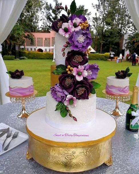Stunning Purple Flowers Wedding Cake