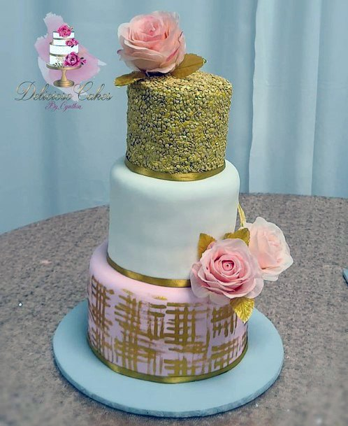 Stunning Rose And Gold Cake Wedding Art