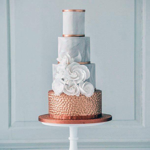 Stunning Rose Gold And White Elegant Wedding Cake Women
