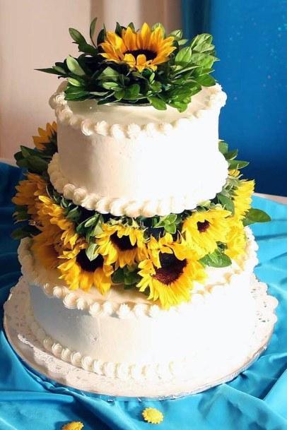 Stunning Sunflowers On Womens Wedding Cake
