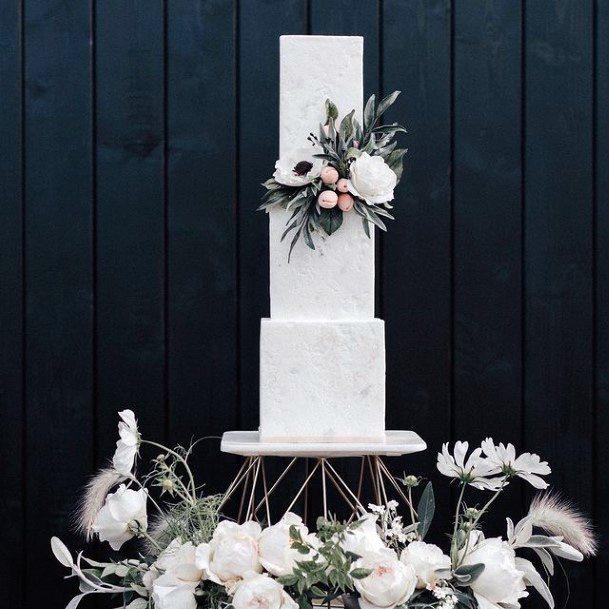Stunning White Square Wedding Cake
