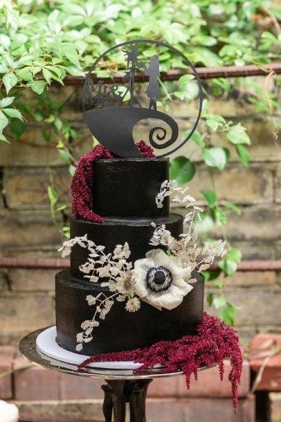 Stupendous Black Halloween Wedding Cakes