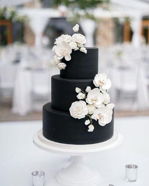 Stylish Black Cake With White Flowers Wedding 3 Tier Cake Women