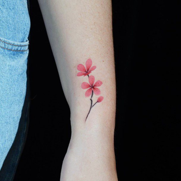Stylish Cherry Blossom Tattoo For Women
