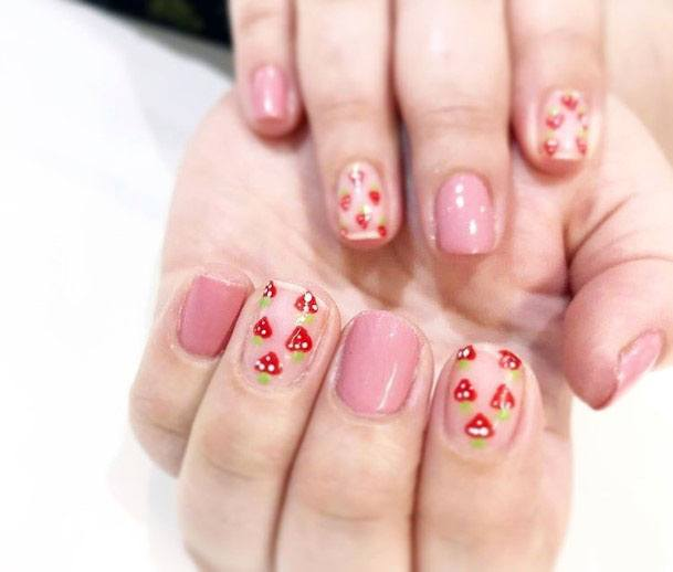 Stylish Cute Pink Strawberry Art Design Nails For Ladies