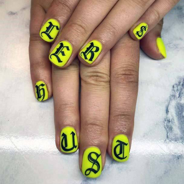 Stylish Fonts On Bright Yellow Nails For Women