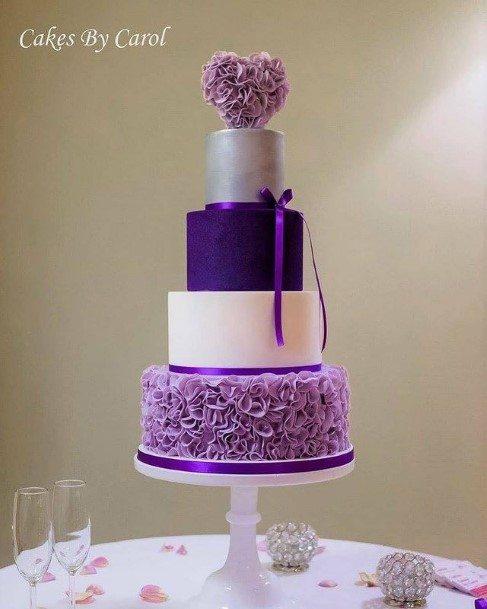 Stylish Purple Wedding Cake With Bow
