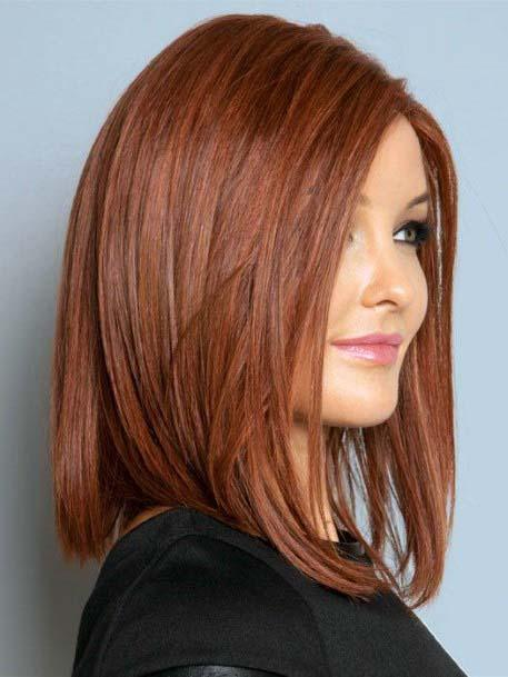 Subdued Copper Shoulder Length Straight Hair Women