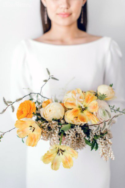 Subtle Yellow And White Wedding Flowers