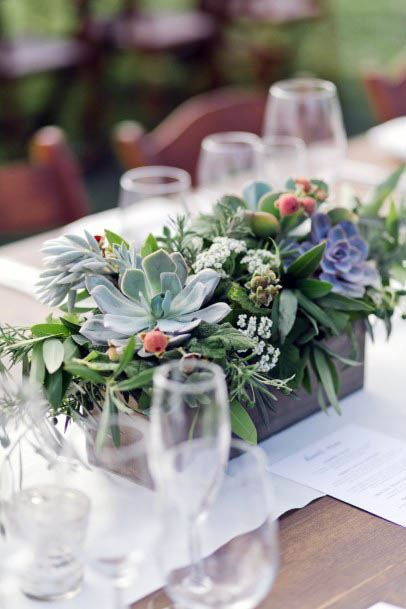 Succelent August Flowers Table Decor Wedding