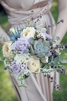 Succelents And Lavender Wedding Flowers