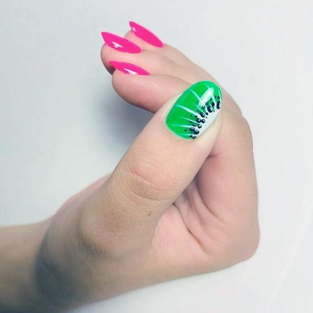 Succulent Kiwi And Pink Nails Women