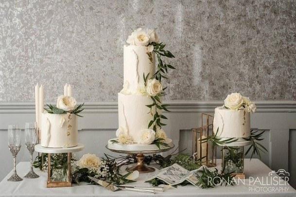 Succulent White Buttercream Wedding Cake