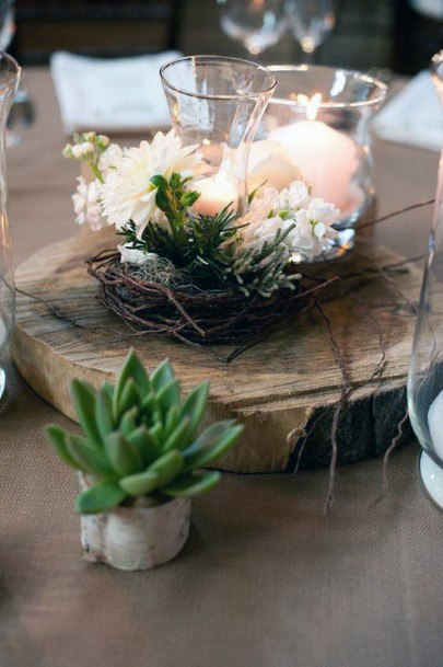 Succulents And Wood Centerpiece Inspiration Rustic Wedding Ideas