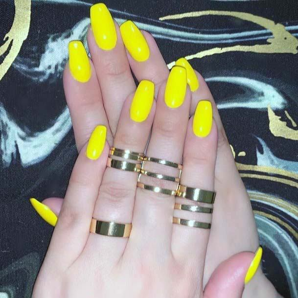 Summer Bright Yellow Nails For Women