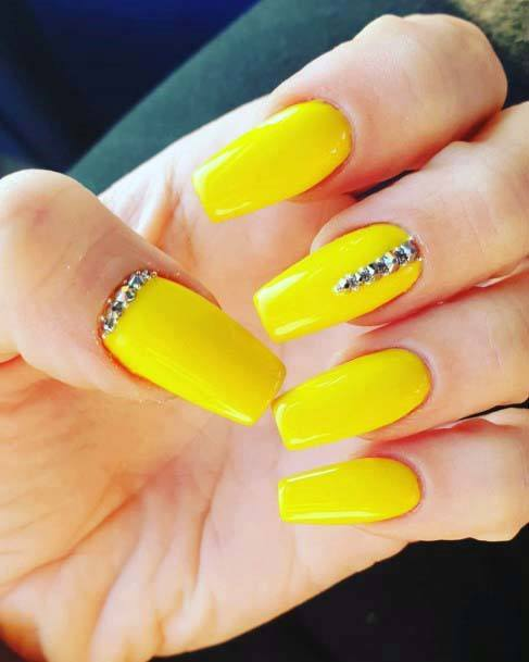 Summer Bright Yellow Nails With Stones For Women