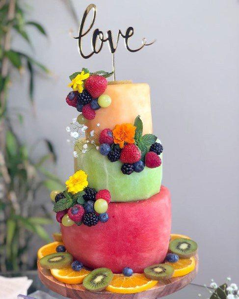 Summer Colored Unique Wedding Cake