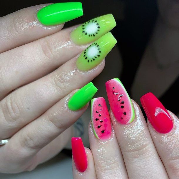 Summer Nails Womens Watermelon Kiwi