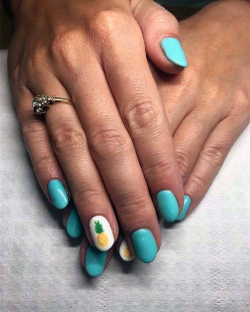 Summer Pineapple And Bright Blue Nails For Women