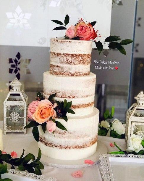 Sun Light Roses On White Wedding Cake 3 Tier