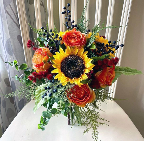 Sunflower And Orange Roses Bright Bouquet Inspiration Fall Wedding Ideas