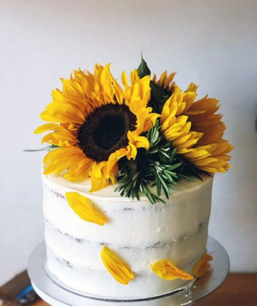 Sunflower And Petals Womens Wedding Cake