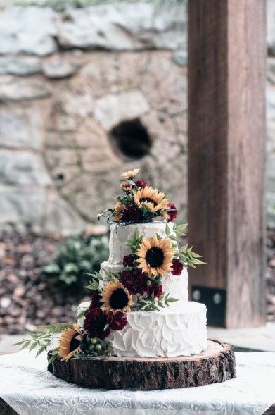 Sunflower And Roses Garland Womens Wedding Cake Art