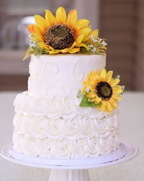 Sunflower Decorated Country Wedding Cakes
