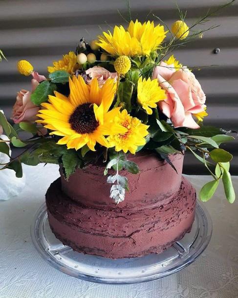 Sunflower Rose Bouquet Art Wedding Cake Women
