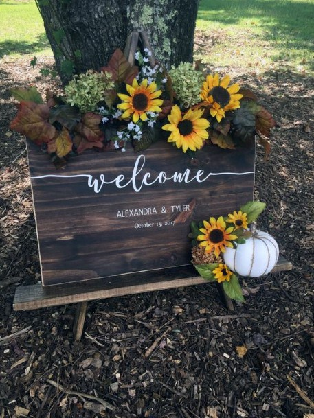 Sunflower Welcome Sign Floral With White Pumpkin Fall Wedding Ideas