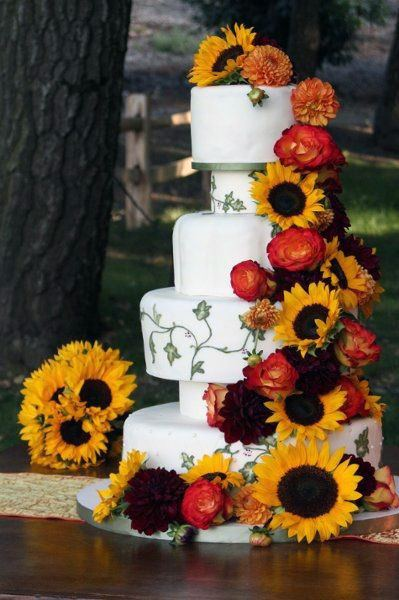 Sunflowers And Red Flowers Womens Wedding Cake