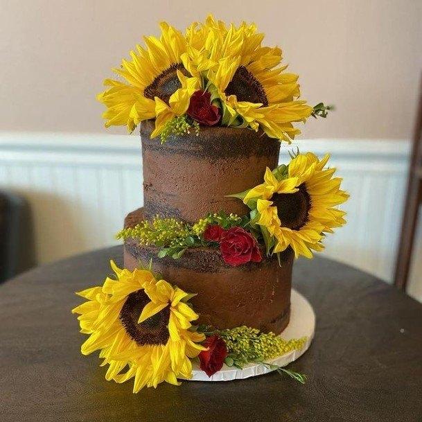 Sunflowers On Chocolate Wedding Cake
