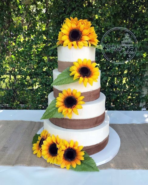 Sunflowers Red Velvet Wedding Cake